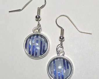 Blue Stripe Dangle Earrings, Jamberry - On Holiday