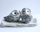 Owl Cake Topper - Clay Owls - Snow Owls - Miniature Hand sculpted Clay Owls - Made To Order for you