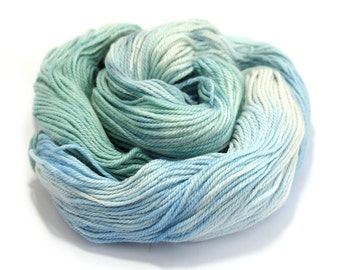 Double knitting wool, hand dyed DK organic merino silk, light worsted crochet yarn, Perran Yarns, Chill white blue mint, uk seller