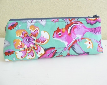 Colorful Chipmunk Pencil Case, Chipper Long Zippered Pouch, Cosmetics Bag made with Tula Pink Fabric