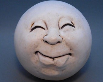 Man-in-the-Moon Garden Head, antique white. eggshell matte