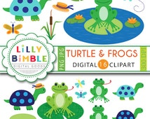 50% off Turtle and Frogs clipart for birthdays, scrapbook, frog pond dressed turtle woodland INSTANT download