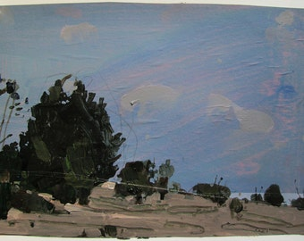 Nightfall on Lost Dog Hill, Original Landscape Collage Painting on Paper, Stooshinoff