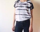 Hand Dyed Scoop Neck Blouse in Moonstone, Black and White, Anna Joyce, Portland, OR