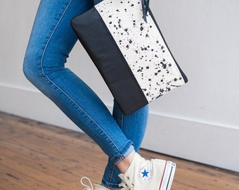 BAG SALE READY To Ship Hand Painted Splatter Print Clutch In Jet Black, Anna Joyce, Leather