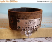 30%OFF SUPER SALE- Custom Mom Leather Charm Cuff-Stamped Leather Cuff--Word Cuff-Mothers Day Gift