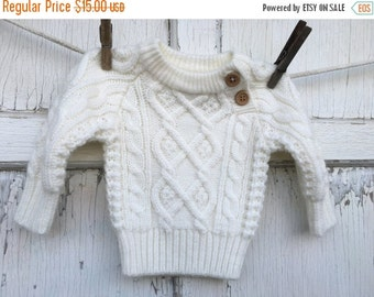 30% OFF SUPER SALE- Vintage Knit Sweater-Baby Sweater-12 Months-White Sweater