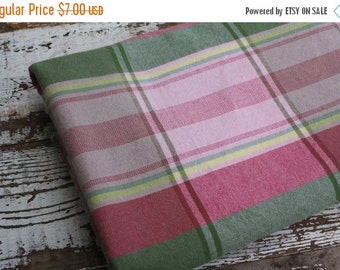40% FLASH SALE- Pink Plaid Upholstery Fabric-Heavy Cotton Blend