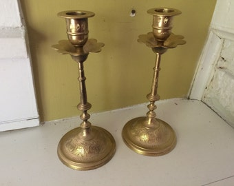 Ornate Etched Candlesticks / Pair / Etched India / Scalloped Wax Bowl
