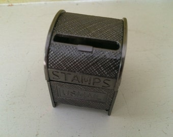 Stamp Roll Holder Dispenser / Tiny Mail Box / Pewter Metal