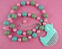 Pink and Mint Ducky Necklace - plastic duck comb pendant, green blue, repurposed toy, pastel colors, Harajuku Decora, Fairy-Kei, kitsch cute