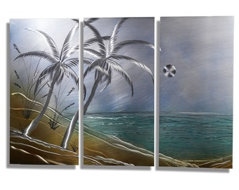 NEW! Tropical Metal Art - Nautical Modern Painting - Beach Scene - Ocean Painting - Home Decor - Tropical Escape 3 by Jon Allen