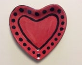 Red 5' by 5.5' polka dot heart shaped soap dish