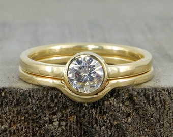 Wedding Ring Set - Forever One Moissanite and Recycled 18k Yellow Gold - Conflict Free Diamond Alternative, Eco-Friendly - Made To Order