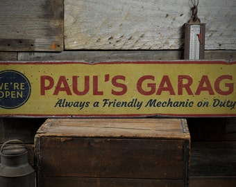 We're Open Wood Sign, Custom Mechanic Name On Duty Decor, Car Garage Man Cave Lover Gift - Rustic Hand Made Vintage Wooden Sign ENS1001535