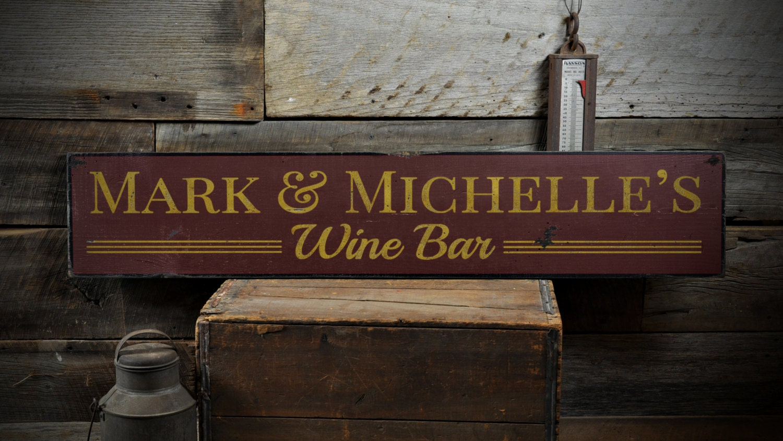 Custom winery wedding wine bar sign rustic hand made vintage for Custom wine bar