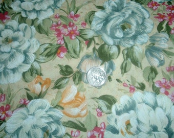 Quilt Fabric Destash Blue Floral on Light Yellow by the Half Yard