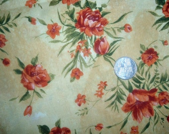 Quilt Fabric Destash Orange Flowers on Yellow by the Half Yard