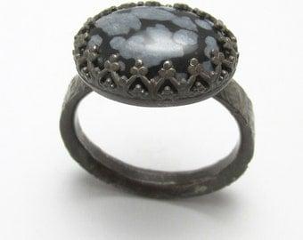 Snowflake Obsidian 7 carats Twisted Treebark finish ring Oxidized Sterling Silver gemstone Size 10