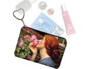 Small Zipper Pouch Coin Purse Keychain Key Fob Boho Business Card Holder Waterhouse Soul of the Rose Art Nouveau Ginger Woman  blue pink RTS