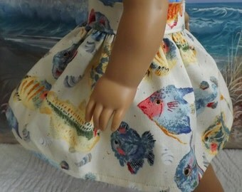 18 Inch Doll Clothes Colorful Tropic Fish Medley Very Fully Gathered 50s Style Skirt will fit American Girl