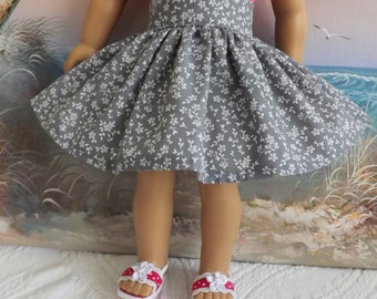 18 Inch Doll Clothes Charcoal Grey with Tiny White Florals Very Fully Gathered 50s Style Skirt with Waistband Medley NEW Style