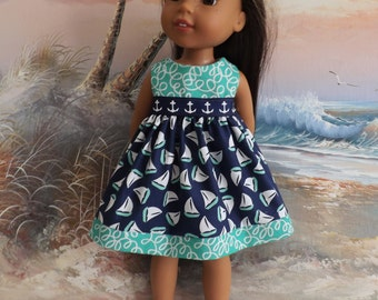 """14 and 14.5"""" Doll Dress Nautical Medley Featuring Michael Miller Designer Fabric The Littles Fits Wellie Wishers"""