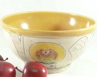 Ceramic Salad Bowl, Hand Made Bowl with owl , soup bowl, cereal bowl , Pottery bowl, Mixing bowl, Key dish, Kitchen food prep 410