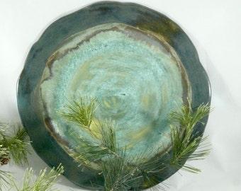 Christmas Platter, Ceramic Serving Platter, Green Decorative Plate, Kitchen Dinnerware, Turkey Platter, Pottery and Ceramics