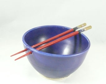 Cobalt Blue Noodle Bowl with Chopsticks -  / Rice Bowl / Sushi Oriental / Chopstick bowls, Pho Noodle Bowl