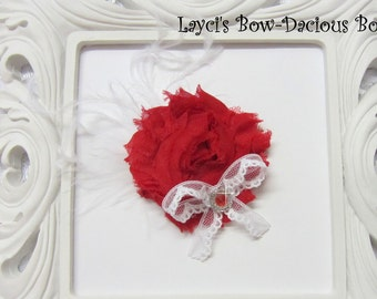 Red {Ellie} Flower Hair Clip, flower clip, shabby flower, red flower, more colors available