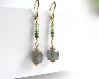 Labradorite Green Tourmaline Earrings