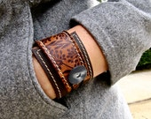 Leather Wrap Bracelet Cuff, Florance Print in Brown & Sienna, Adjustable Size * SALE * Coupon Codes
