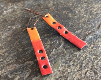 Colorful Glass and Enamel Earrings, Ombre Torch Fired Enamel in Red, Orange and Yellow, Southwest Sunset Inspired, Colorful Rectangles