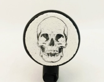 Black Skull Design on Round Shape Night Light with Black Accent Mounted on UL Light Fixture Manual On-Off Switch for Bath or Kitchen