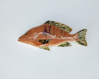 Snaper ceramic fish art decorative wall hanging