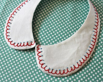 Detachable collar - red scallop pattern with blue dots, embroidery, hand-embroidered, cream, one of a kind, aqua blue, peter pan collar