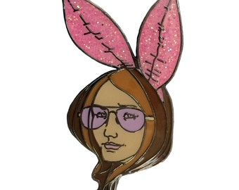 Gloria Steinem Bunny's Tale Enamel Glitter Pin- Feminist Button