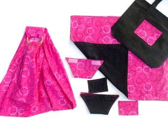 XL Doll Sling Care Set - Doll Cloth Diaper - Doll Wipes - Doll Blanket - Baby Doll Diaper Bag - Doll Ring Sling - XL Sling - Pink & Black