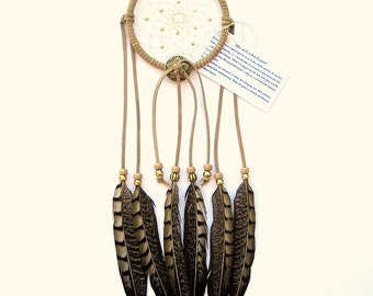 Natural Beige Dream Catcher, Lady Amherst Pheasant Feathers