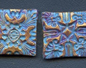 Lot of 4  Polymer  clay Textured  Undrilled  Cabs or Tiles  Turquoise TLST 4