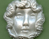 Polymer Clay One of a Kind 2 1/4 Inch x 2 Inch White Pearl  Lady Face WPSMF 3