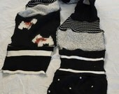 Black and white upcycled sweater scarf with Scottie Dogs! OOAK