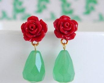 SALE Petite Red Rose Jade Green Teardrop Earrings