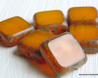 6 Milky Gold Picasso Czech Glass Beads 10mm Square Beads (G - 634)