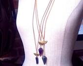 Pyrite Amethyst & Crystal Pendulum Crescent Moon Pendant  Necklace - vintage chain -  half moon - Moon Magic - blue crystal pendulum