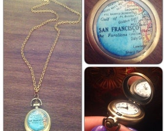 "San Francisco Map Glass Art Watch Necklace - Map Watch Clock - 1.75"" round -  Square  Real working watch - Map Necklace - SMALL"