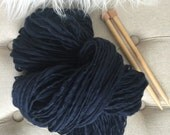 Yarn Handspun, Thick and Thin - NAVY - Bulky, merino, crochet, knit, weaving, craft supplies, doll hair, supplies 130yds.