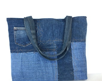 Recycled tote bag, Eco-friendly bag , Blue jeans bag , Women bag , Denim tote bag , Travel bag, Market Bag ,Vegan tote ,Shopping tote bag ,