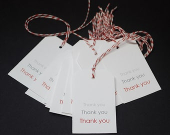 Shadow Thank You Tags, hang tags, thanks, favor tags, party favors, gift tags, set of 50, red and white bakers twine, glossy paper